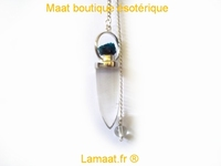 Pendule pointe cristal de roche tete de chalcanthite