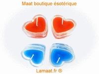 Bougie coeur dans support en verre