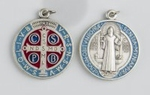 Médaille argentée colorée de St Benoit